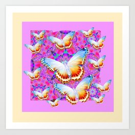 EXOTIC ORIENTAL BUTTERFLIES PINK-YELLOW ART Art Print