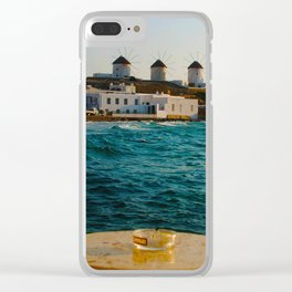 Seaside Cafe View of Mykonos Island Windmills Clear iPhone Case