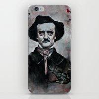 edgar allan poe iPhone & iPod Skins featuring Edgar Allan Poe by Bella Harris