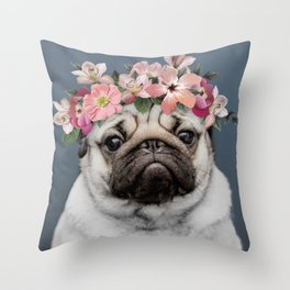 Hippie Pug Throw Pillow