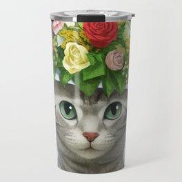 A cat wearing a flower hat Travel Mug