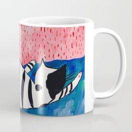 The sleeping black and white striped cat Coffee Mug