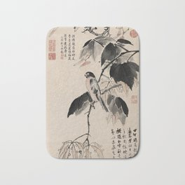 Ink Painting Calligraphy, Bird and Phoenix Tree, Wutong, Ming Dynasty, Hand Drawing Ancient Painting Bath Mat