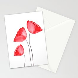 3 red poppies watercolor Stationery Cards