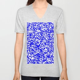Small Spots - White and Blue Unisex V-Neck
