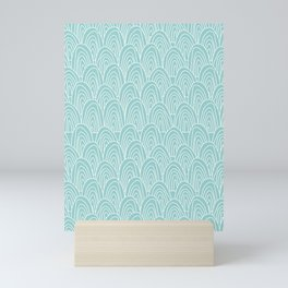 Blue Scribbles Pattern 09 Mini Art Print