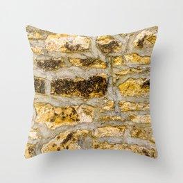Stone Wall Structure (medium, yellow) Throw Pillow