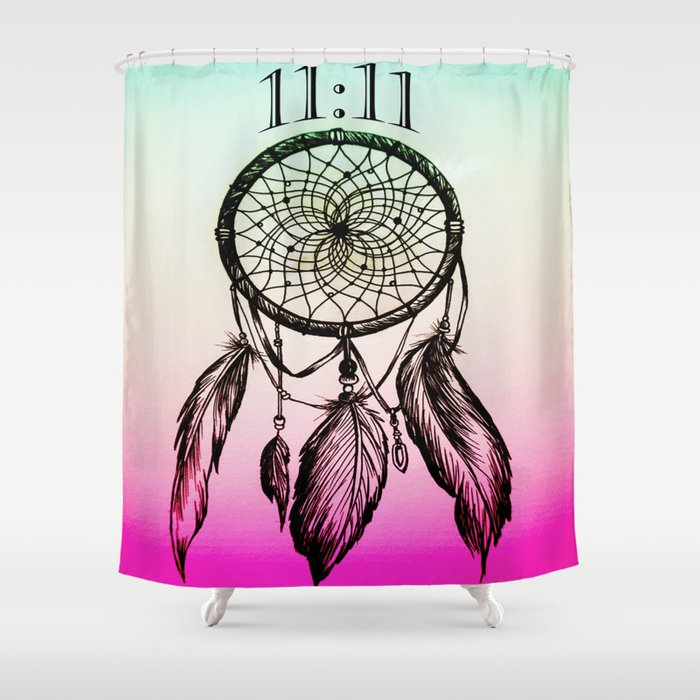 1111 Eleven Spiritual Dream Catcher Shower Curtain
