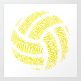 Yellow Volleyball Wordcloud - Gift Art Print