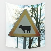cows Wall Tapestries featuring Attention cows by Falko Follert Art-FF77