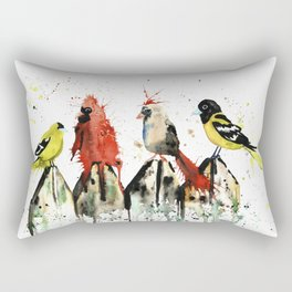 Birds on a Fence - Judgey Birds Rectangular Pillow