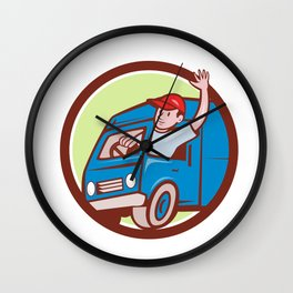 Delivery Man Waving Driving Van Circle Cartoon Wall Clock
