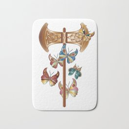 Double Headed Axe Labrys & Butterflies - Transformation Bath Mat