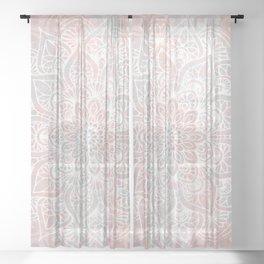 Mandala, Yoga, Love, Coral and Gray, Wall Art Boho Sheer Curtain