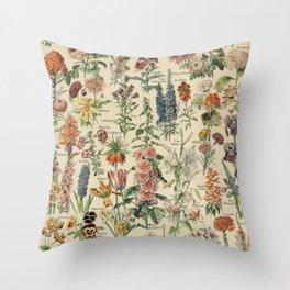 French Vintage Flowers Chart Adolphe Millot Fleurs Larousse Pour Tous Poster  Throw Pillow