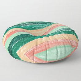 Green and Orange Pastel Stripe Pattern Abstract  Floor Pillow