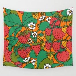 Orange Strawberries Wall Tapestry