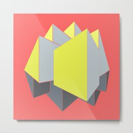 Abstract yellow and gray blocks in 2-point perspective Metal Print