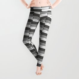 Staggered Oblong Rounded Lines Pattern Pantone Pewter Gray Leggings