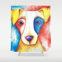 Dog Jack Russell Terrier JRT Original Art Confetti Shower Curtain