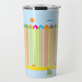 Beach cabins pattern stripes Travel Mug