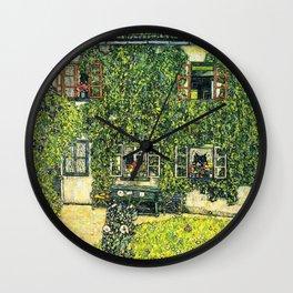 Ivy Covered Chateau - Gustav Klimt Wall Clock