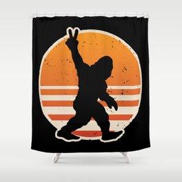 Retro Bigfoot Peace Sign Shower Curtain