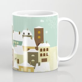 Santa flying in his sleigh over a village Coffee Mug