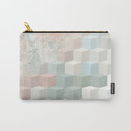 Distressed Cube Pattern - Nude, turquoise and seashell Carry-All Pouch
