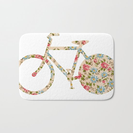 Whimsical cute girly floral retro bicycle Bath Mat