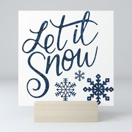 Let It Snow Blue Glitter Typography Winter Mini Art Print