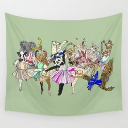 Animal Ballet Hipsters - Green Wall Tapestry