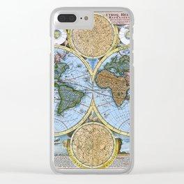 World map wall art 1600 dorm decor mappemonde Clear iPhone Case