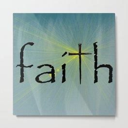 Faith Cross Bokah Yellow Rays Blue Art Religious Spiritual Art A641 Metal Print