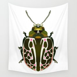 Green, White, Pink Beetle Wall Tapestry