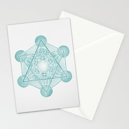 Watercolor Metratron's Cube Green Stationery Cards