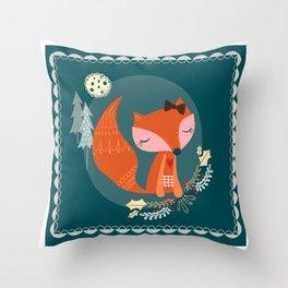 Fox Folk Art Throw Pillow