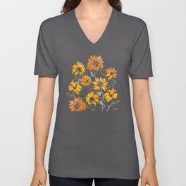 Sunflower Watercolor – Yellow & Black Palette Unisex V-Ausschnitt