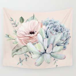 Elegant Blush Pink Succulent Garden by Nature Magick Wall Tapestry