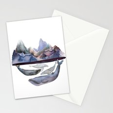 mountain and whales Stationery Cards