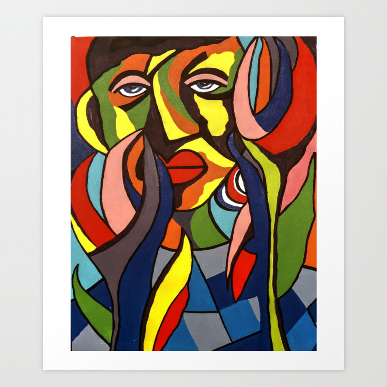 African Traditional Tribal Women Abstract Art Canvas Painting Series 3 Art Print