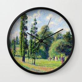"Camille Pissarro ""Jardin de Kew, Londres, près d'un étang""(""Kew Garden, London, near a pond"") Wall Clock"