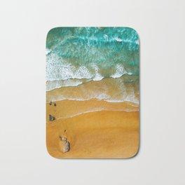 Ocean Waves Crushing On Beach, Drone Photography, Aerial Photo, Ocean Wall Art Print Decor Bath Mat