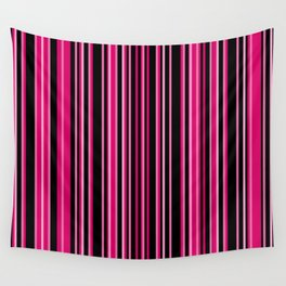 Dark Hot Pink and Black | Vertical Barcode Stripes | Wall Tapestry