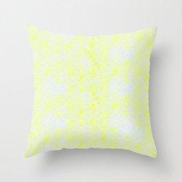 Damask Yellow Throw Pillow