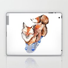Smiling Red Fox in Blue Socks Laptop & iPad Skin