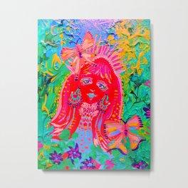 Neon Butterfly Fairy Metal Print