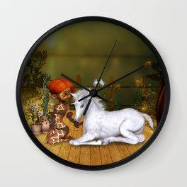 Little fairy with unicorn foal Wall Clock