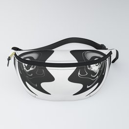 Black and White Abstract art - Distorted Smiling face Fanny Pack