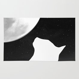 Black And White Dreaming Cat and Moon Design Rug